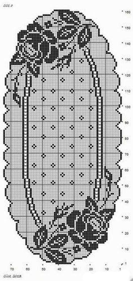 Салфетки с розами крючок схема 4