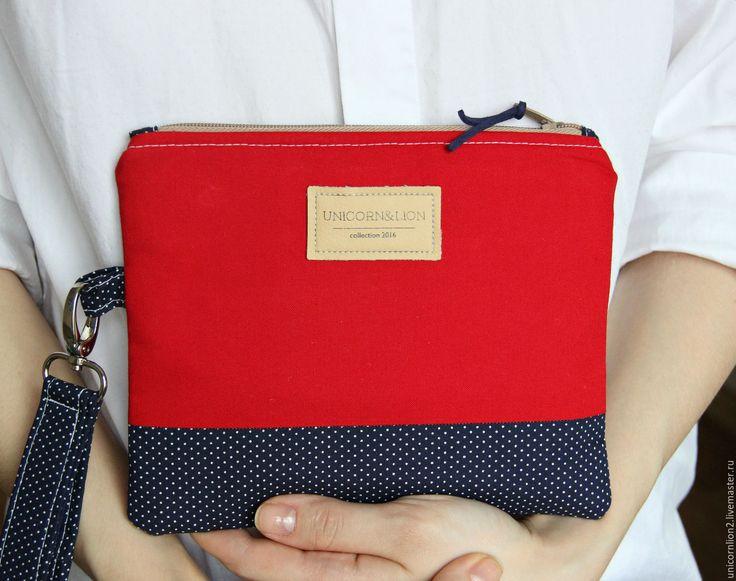 """Купить Клатч кошелек """"Красный"""" чехол для телефона - цветочный, клатч ручной работы, кошелек женский"""
