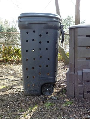 Trash Can Composter.  Commercial composting canisters are costly, but they're simply a place to allow natural microbial processes to convert waste matter into a dark, fresh-smelling soil. Commercial versions allow air and some water to get in, and sometimes a way to mix.  Make your own out of an old trashcan.