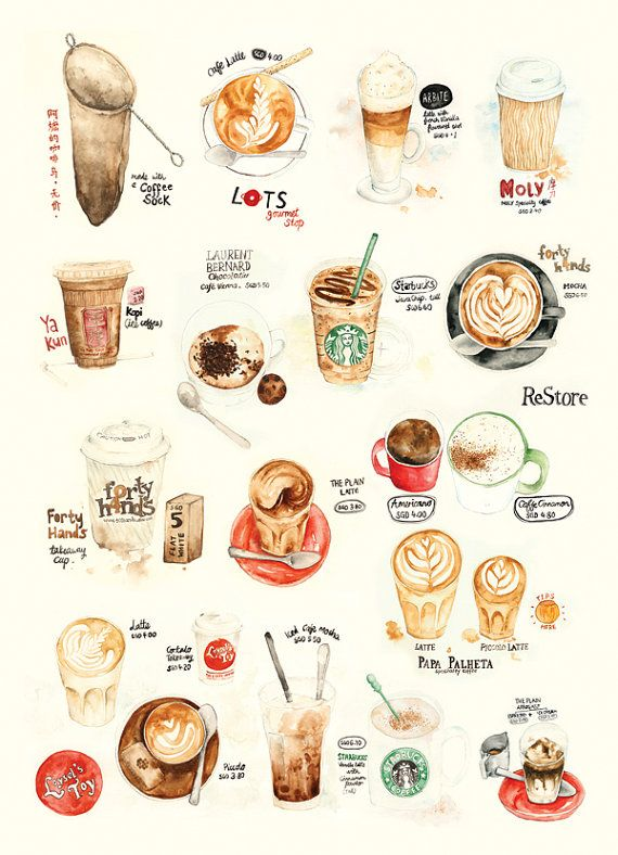 Coffee Collection Print by Lily X