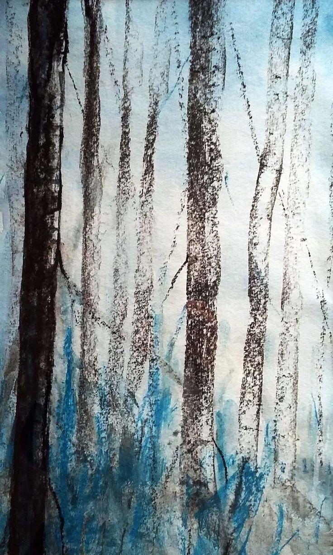 Nel bosco  -  Acquerello e carboncino  - 25x40 cm