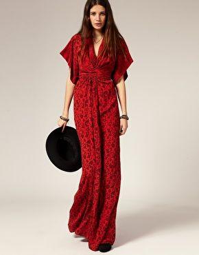 Winter Kate Silk Kimono Maxi Dress With Goldvine Print