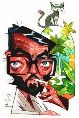 Julio Cortazar . Julio Ibarra Caricaturas - ibarracaricatura@gmail.com