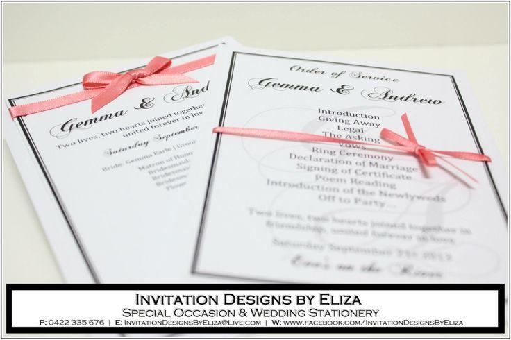Order of Service Card Designs {Wedding} Coral,Black & White Theme www.facebook.com/InvitationDesignsByEliza