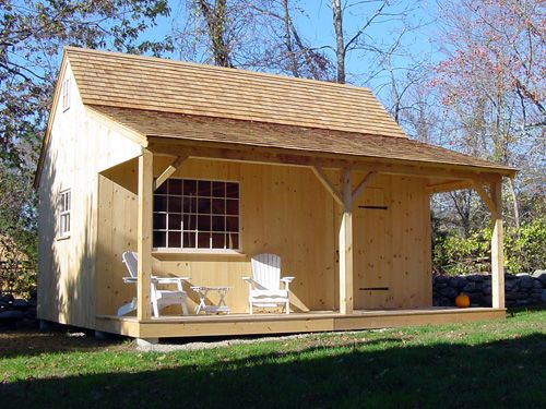 Exterior of post and beam pool garden shed or country for Country cabin kits