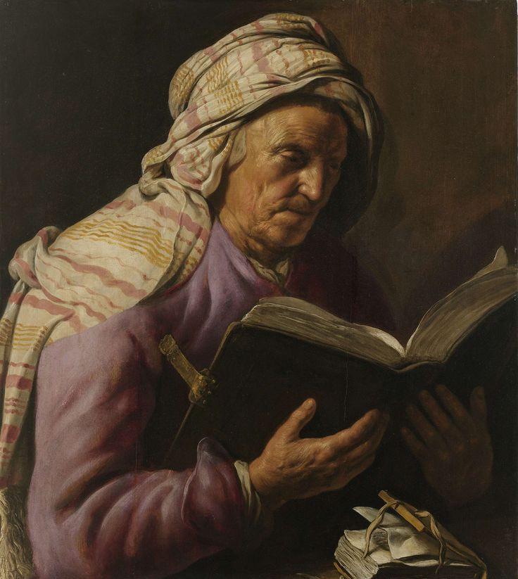 Jan Lievens   Old Woman Reading, Jan Lievens, 1626 - 1633   Studie van een lezende oude vrouw. De vrouw is ten halven lijve voorgesteld, zittend achter een tafel waarop een klein boek ligt, met een opengeslagen groot boek in de handen. Om het hoofd een gestreepte doek.