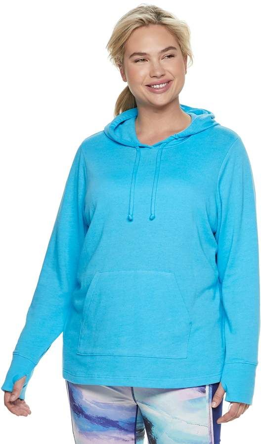 Plus Size Tek Gear® French Terry Thumb Hole Hoodie