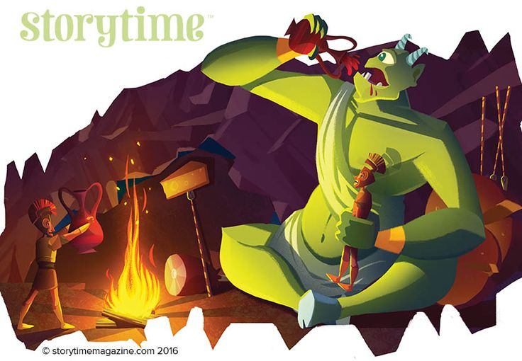 Odysseus meets the Cyclops in Storytime Issue 18. Illustrated by Spencer Epps (https://www.behance.net/spencereppsart) ~ STORYTIMEMAGAZINE.COM