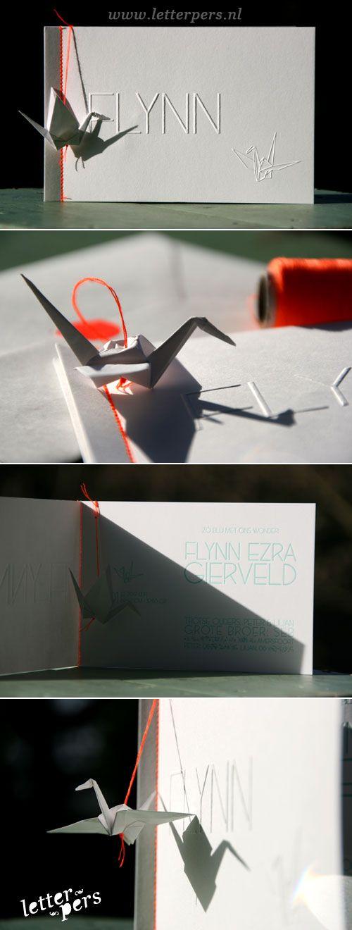 letterpers geboortekaartje kraanvogel_fluor_neon_origami letterpress birth announcement by letterpers.nl