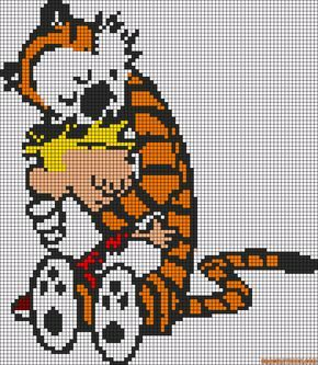 Calvin and Hobbes cross stitch pattern free