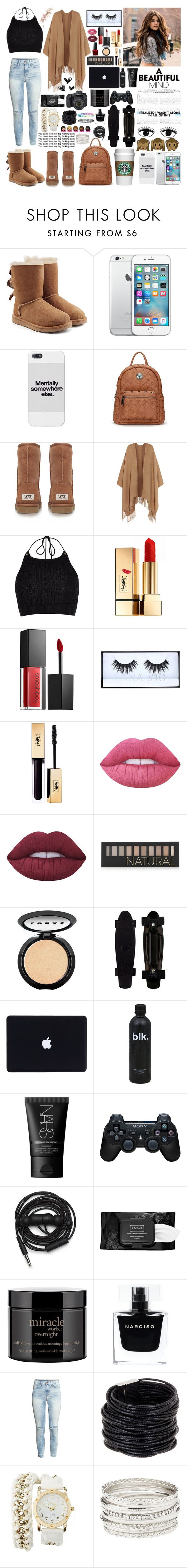 """~You don't love me,big fu*king deal."" by pink-maja ❤ liked on Polyvore featuring UGG, UGG Australia, Acne Studios, River Island, Yves Saint Laurent, Smashbox, Huda Beauty, Lime Crime, Forever 21 and LORAC"