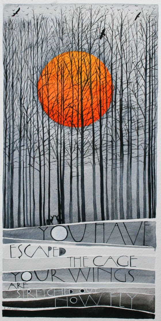 """""""Now fly"""" - lettering work by Sam Cannon - watercolour and gouache on paper"""