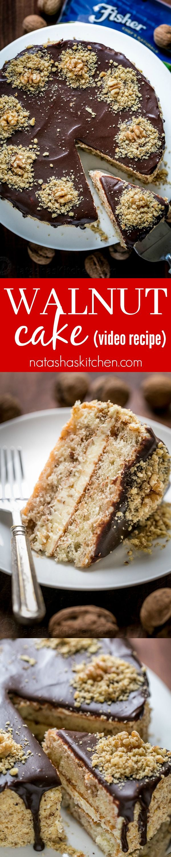 Royal Walnut Cake is beautiful and delicious! The Russian buttercream frosting will surprise you. Everything about this walnut cake is good! (Video Recipe sponsored by Fisher Nuts) YOU CAN DO THIS! | natashaskitchen.com