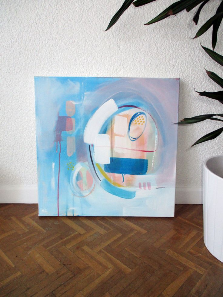 """Original Acrylic Painting, Pastel Colors,  """"TROPICAL"""" by HolaGabrielle on Etsy"""