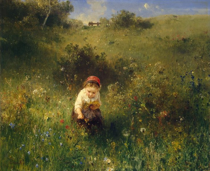 https://flic.kr/p/efidUe | Ludwig Knaus - Girl in a Field [1857] | Ludwig Knaus (1829 – 1910) was a German genre painter of the younger Düsseldorf School. He was born at wiesbaden and studied from 1845 to 1852 under Sohn and Schadow in Düsseldorf. Among his many distinctions were the great gold medal of the Berlin Exhibition of 1861 and the grand medal of honor at the Paris Exposition of 1867. He was a member of the Berlin, Munich, and many other academies; an Officer of the Legion of…