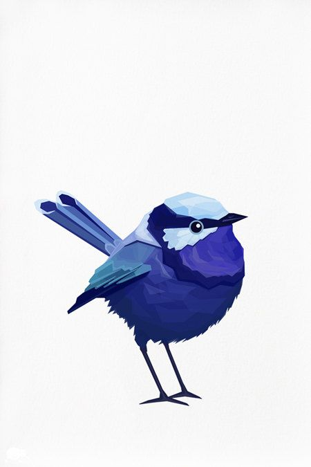Geometric illustration Blue wren bird print | tinykiwiprints on Etsy