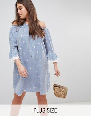 Lovedrobe Stripe & Floral Bardot Dress