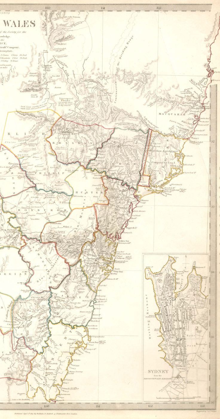 Map of New South Wales Australia 1833