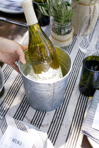 Use an inexpensive galvanized pail for a wine bucket