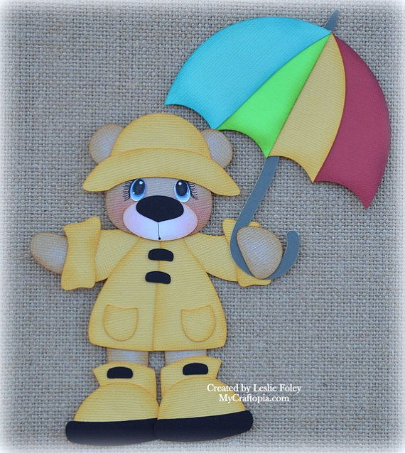 Rainy Day Bear Spring Premade Scrapbooking by MyCraftopia on Etsy