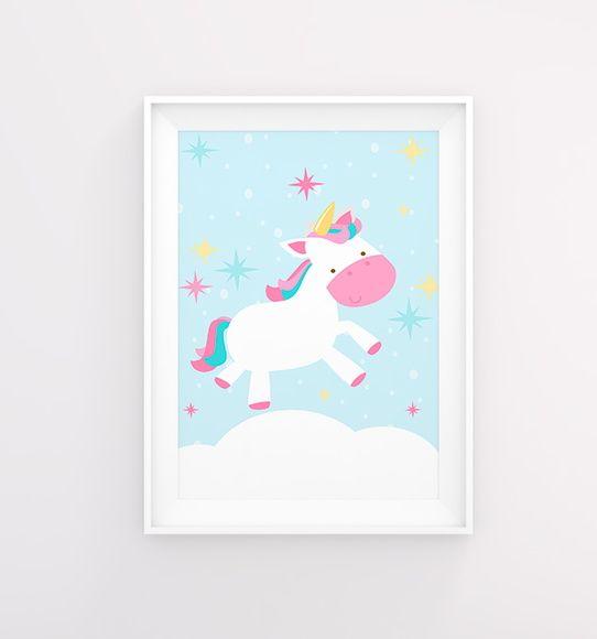 Poster decoração Bebê unicórnio