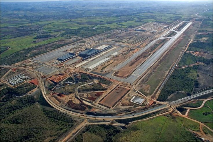 A aerial view of King Shaka International Airport that is an integrated passenger and freight airport. The dvelopment started before the hosting of FIFA world cup in 2010. Check more @ http://www.airport-technology.com/projects/king-shaka/