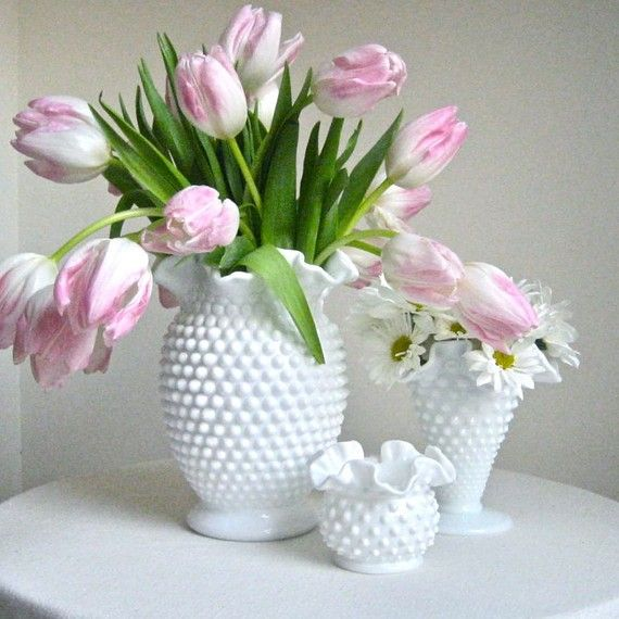 Large Fenton Hobnail Milk Glass Vase ..Love the big vase! ok I love of all of it!