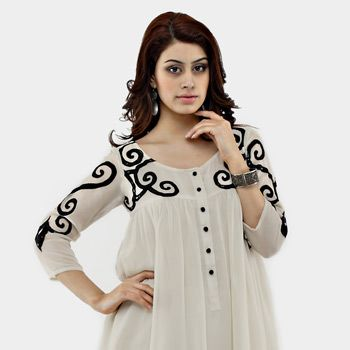 Off White Faux Georgette Readymade Tunic