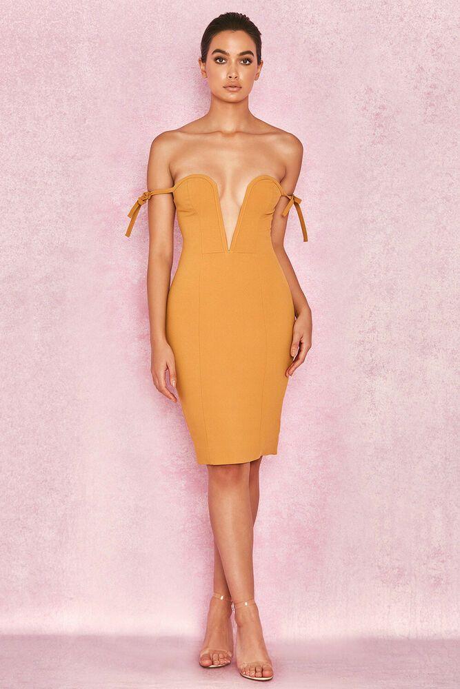 Off Shoulder Deep Plunge Dress