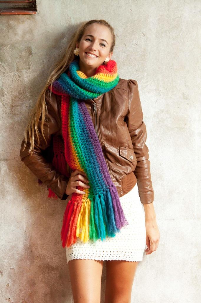 Bufanda franjas arcoiris — de las bolivianas. Buenísima!!