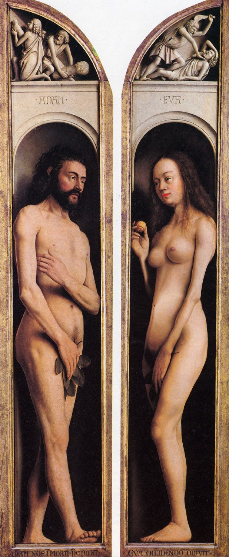 Adam en Eva  Jan van Eyck, the way he lifts his feet is very special during that time.