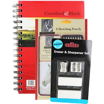 Buy Crawford and Black A5 Sketch Pad with 8 Farrel with Gold Graphite Sketching Pencils and Sharpener and Eraser Set  online from The Works. Visit now to browse our huge range of products at great prices.