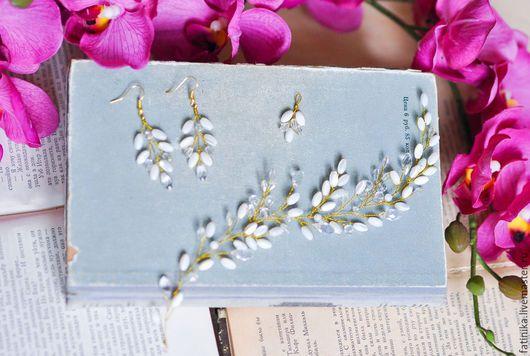 Cercei Cercei argint Cercei Lungi cu perle, cercei mireasa, Cununa, o șapcă pe coroană, o coroană de flori, Cununa de mireasa, vopsire, bijuterii margele, bijuterii de argint.