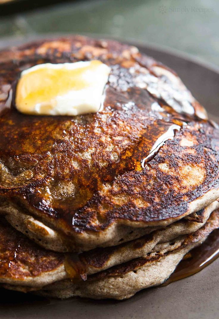 Buckwheat pancakes with buttermilk, tangy, earthy, surprisingly fluffy, and naturally gluten-free! On SimplyRecipes.com