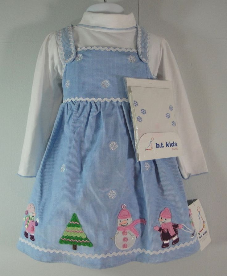 B T Kids Blue Corduroy Jumper Holiday Party Dress Tights