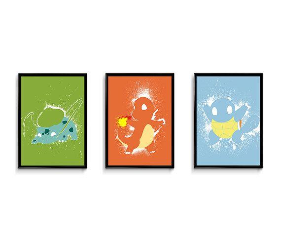 Pokemon starter 24x18 poster bundle  videogame art  by FEIDesigns, $59.99