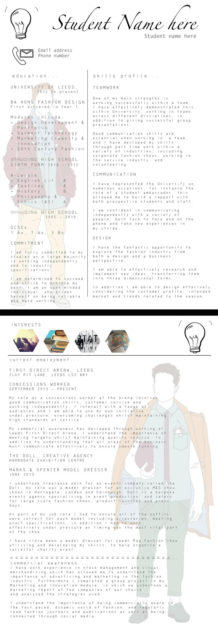 best ideas about cv example exemple de cv simple great 2 page creative cv example from one of our fashion design students