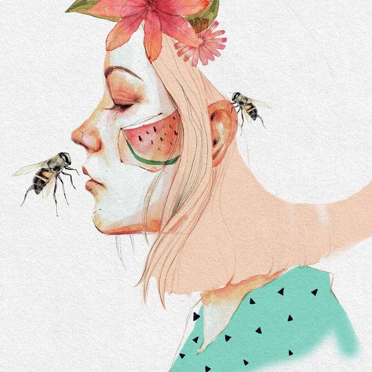 Fiebre de abejas ♡ . . #coloresdeverano #art #arte #artwork #illustration #ilustracion #watercolor #acuarela #draw #dibujo #lapiz #bee #abeja #insect #insecto #fashionart #fashionillustration ##flowers #flores #rosaquartz #aquarelle #dibujoalapiz #inspiration #creativity #turquesa