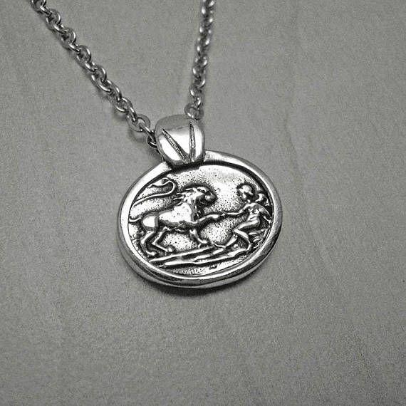 Mens silver necklaceman lion pendantvintage necklacemens