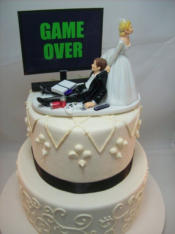 Game Over Or Any Game Image Funny Wedding Cake Topper Custom Etsy Funny Wedding Cake Toppers Funny Wedding Cakes Grooms Cake