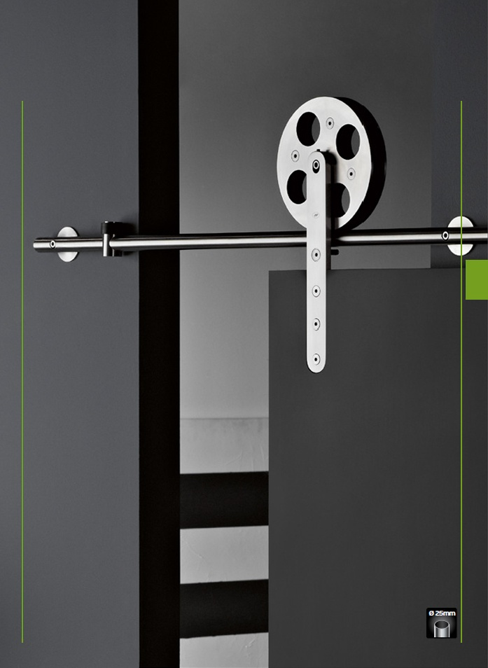 Manufactured in grade 304 stainless steel and to EN 1.4301 standards, Lean Spaces offers this new range of designer sliding door gear. A  highly engineered product with elegant aesthetic as well as precision manufacture results in a high quality look, feel and tactile experience marking a door sets look apart.
