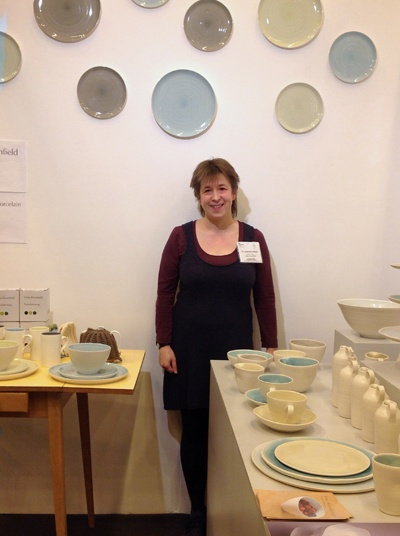 Linda Bloomfield with her ceramics collection at Home 2013