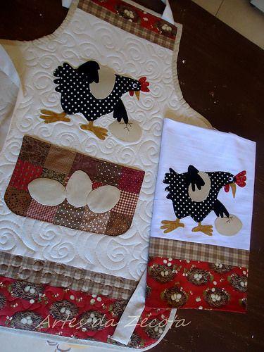 """Avental e pano de copa """"galinha e ovos caipira""""   Jaqueline Uriazeniki   Flickr"""
