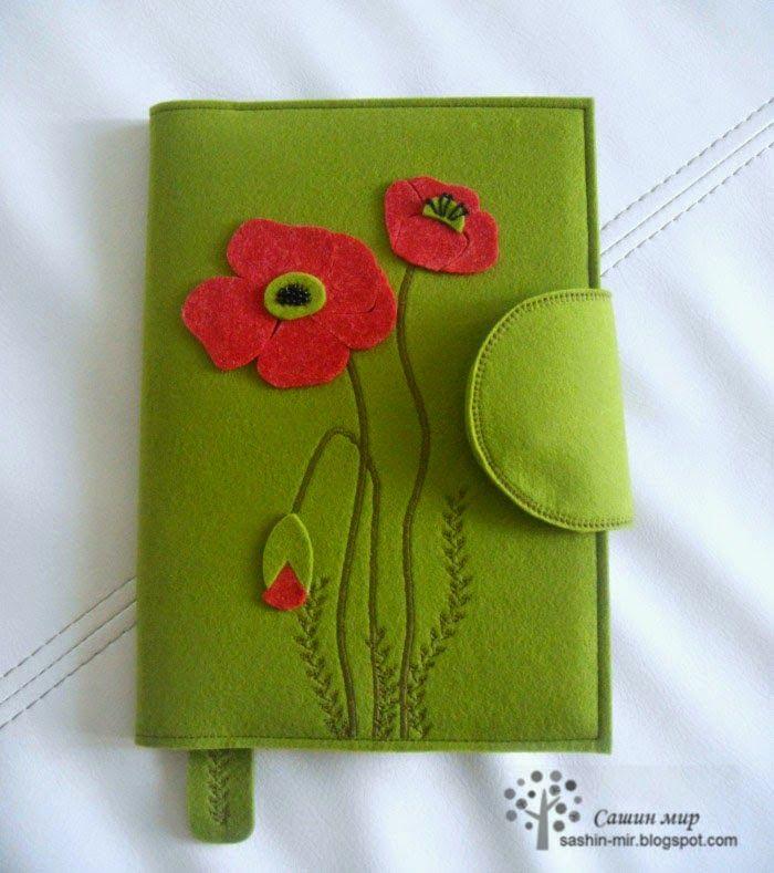 Привет! :)   Помните роскошный букет фетровых цветов  ко Дню Учителя??? Так вот к нему заказчица добавила обложку для ежедневника, но ...