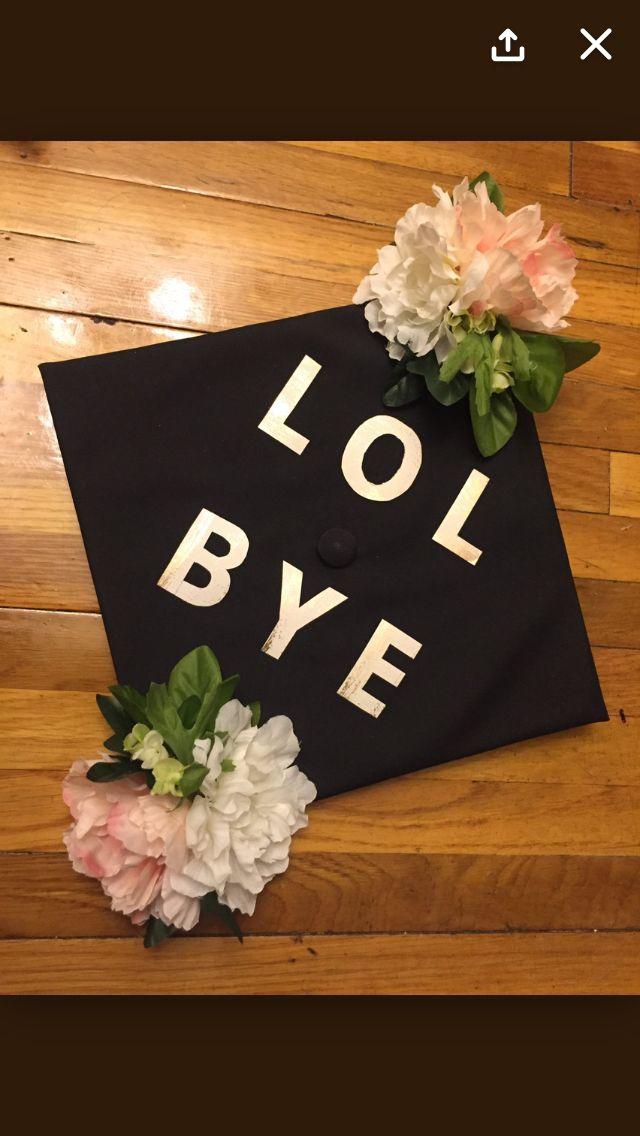 lol bye floral 3D flowers grad cap