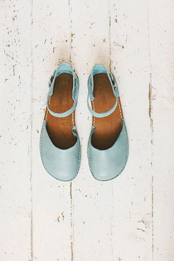 Blue Sandals. Blue Handmade Leather Sandals For Women