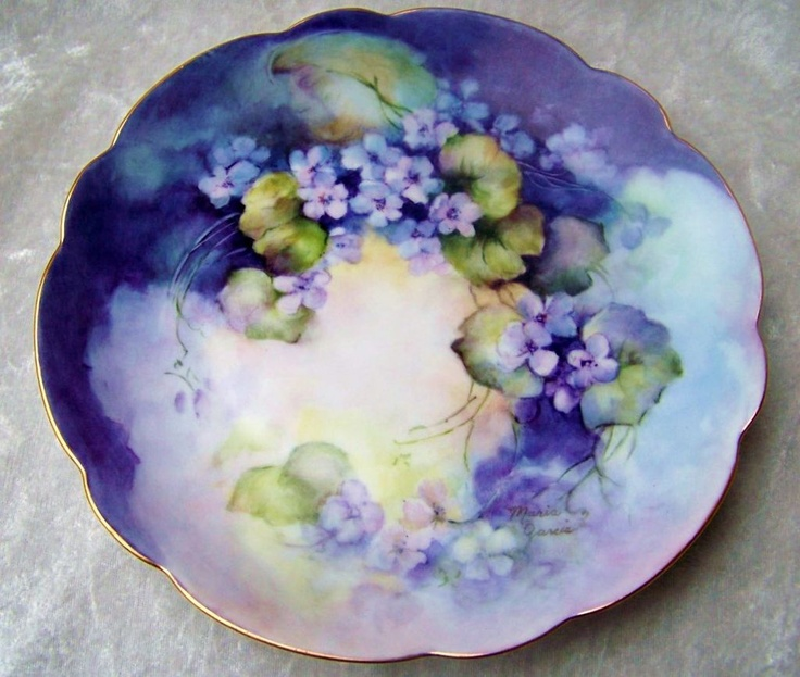"""Outstanding Rosenthal Bavaria 1940's Hand Painted Vibrant """"Violets"""" 8-1/4"""" Plate by the Renowned Artist, """"Maria Garcia"""""""