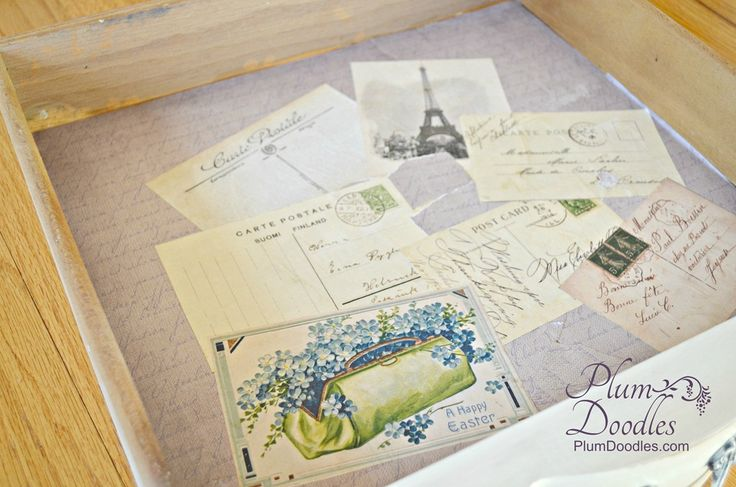 Decoupage Drawers with French Postcards | PlumDoodles.com