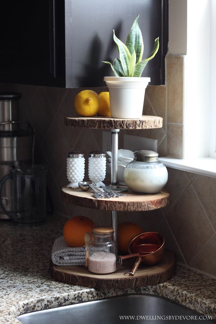 Use a tiered serving tray for kitchen storage and display