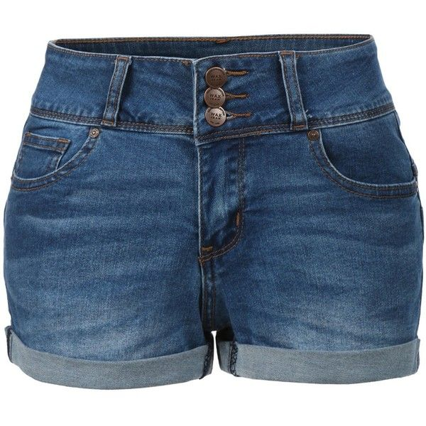 LE3NO Womens Plus Size Fitted High Rise Push Up Denim Jean Shorts ($20) ❤ liked on Polyvore featuring shorts, bottoms, highwaist shorts, womens plus size shorts, high-rise shorts, high-waisted shorts and fitted shorts